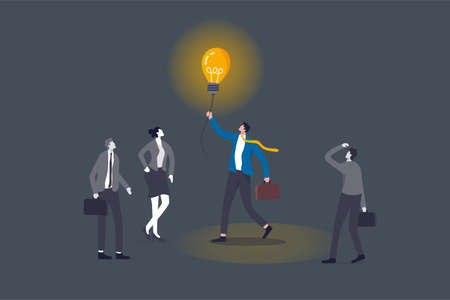 Brighten up business, bright light to guide career path, creativity for solution, lit up to see way in the dark concept, smart businessman manager holding lightbulb idea to help colleague in the dark. 일러스트