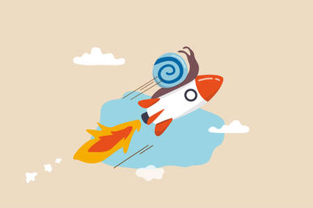 Accelerate business, increase agility and efficiency, sprint or fast, innovation to increase work speed concept, slow snail flying fast with rocket booster metaphor of accelerate working process.