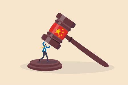 China government regulations to manipulate or control company with new rules concept, businessman business owner or investor try to survive from big gavel hammer with Chinese flag.