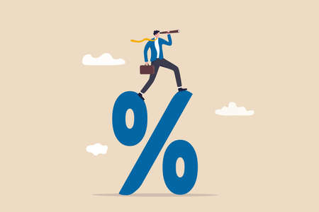 Interest rate forecast, FED and Central bank financial policy, search for investment profit or banking loan payment concept, confident businessman climb up percentage sign see vision on telescope. Vektorgrafik