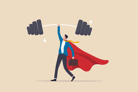 Business Strengths, strong power to get job done and success, career challenge or winning skill with strong leadership concept, strong businessman hero show his strength by easy lifting heavy weight. Ilustracja