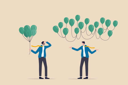 Decentralization, blockchain technology to distribute authority without center, DeFi Decentralized Finance concept, businessman holding centralized balloons looking at decentralized balloons network.