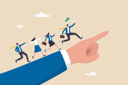 Leadership to lead team members, business direction to achieve goal or target, teamwork to success in work, businessman leader holding winner flag running lead business people on pointing finger.