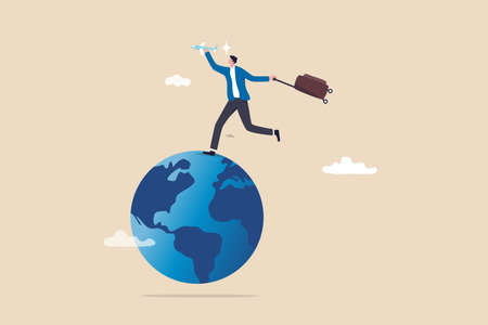 Travel passion when the world open after COVID-19, global tourism growth and tourist return their travel plan concept, happy man holding airplane and vacation baggage running on world map globe. Ilustracja