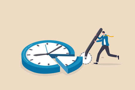 Time allocation, manage limited time to optimize outcome, project management or efficiency and productivity concept, smart businessman cut clock face with pizza cutter metaphor of time management. Ilustracja