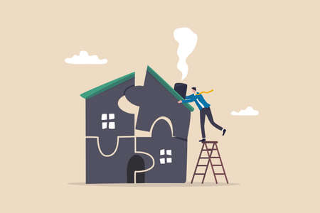 Plan to buying new house or renovation, mortgage loan or housing expense, property maintenance or real estate insurance concept, smart businessman put jigsaw to complete or finishing house puzzle.