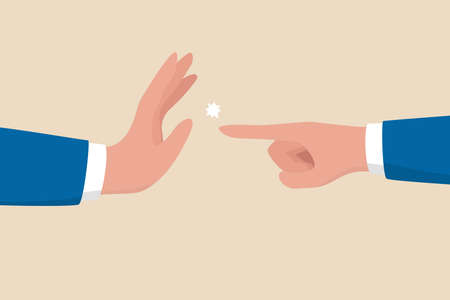 Management skill to stop or compromise disagreement conflict, business war, fight, dispute, argument or negotiation concept, businessman hand one pointing at other and another one with stop gesture.
