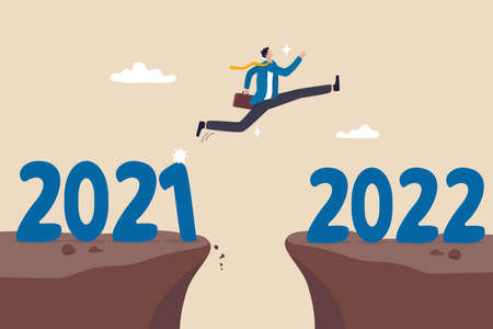 Year 2022 hope, new year resolution or success opportunity, change to new business bright future, overcome business difficulty concept, ambitious businessman jump over year gap from 2021 to 2022. Ilustracja