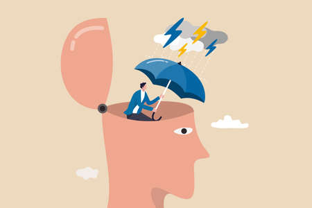 Mental health protection, depression or anxiety control or cure, help, support mental illness suffering concept, human head with his self using umbrella to protect from heavy raining storm depression.
