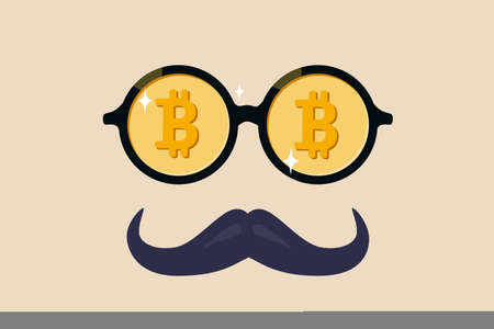 Bitcoin whale or anonymous who rich with bitcoin crypto trading, cryptocurrency guru or success investor with no identity concept, fancy nerd eyeglasses with precious Bitcoin symbol and mustache.