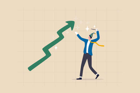 Stock market wizard, expertise trader make profit from crypto or bitcoin, using magic to get rich like miracle concept, businessman investment wizard using magic wand to make stock price rising up. Ilustracja
