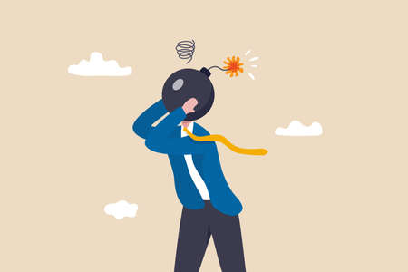 Anxiety, stressed or anger emotion, mental problem or depression, exhaustion or overworked concept, frustrated nervous businessman bomb head about to explode. Ilustracja