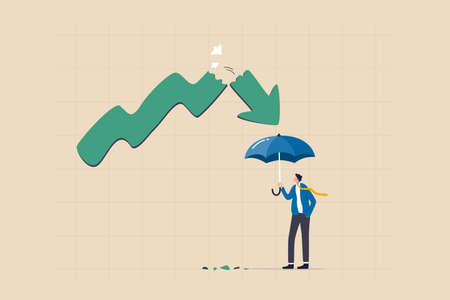 Protect from stock market crash, insurance to protect from risk or uncertainty, investment margin of safety concept, businessman investor holding strong umbrella ready for downturn arrow graph. Ilustracja