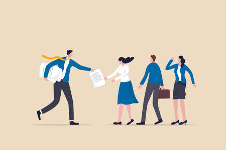 Work delegation, manager distribute work assignment to team member colleagues, assign tasks, job or project to staff responsibility concept, businessman manager delegate project assignment to team.