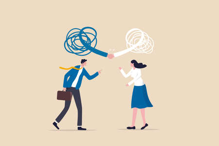 Respect different dissent, accept conflict opinion for work collaborate, professional work discussion concept, businessman and woman fighting or arguing on work with sign of respectful handshaking. Ilustracja