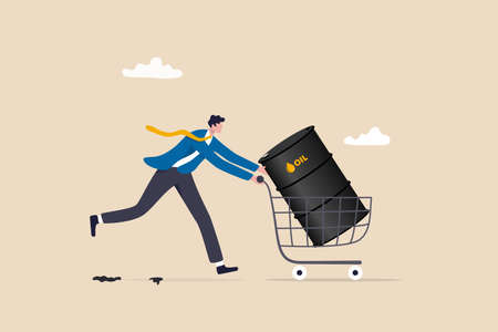 Crude oil investment, buy oil stock to make profit, fuel, power or energy company concept, businessman investor buying crude oil gallon in shopping cart trolley.