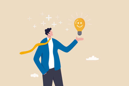 Positive thinking, optimistic mindset or good attitude to success in work, always get idea to solve any problems concept, happy businessman holding smiling lightbulb idea with positive vibes around.