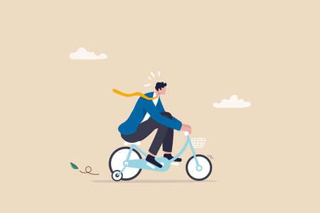 Practice, training or effort for career growth or business success, entrepreneur, amateur begin or start new business concept, newcomer businessman practice riding child bicycle with training wheels. Ilustracja