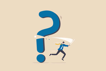 Solving problem, answer question or overcome difficulty, solution to eliminate trouble, unknown concept, confidence businessman cut question mark sign with his sword unveil exclamation mark as answer.
