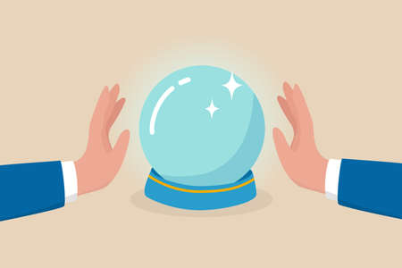 Business forecast, investment stock market prediction or super power to see future, fortune teller to see opportunity concept, businessman hand with magical power see forecasting on crystal magic ball