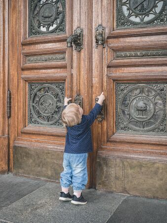 A little girl standing on tiptoe stretches her hands to the massive doors of the university trying to open them. On the doors there are inscriptions and emblems indicating the types of sciences.