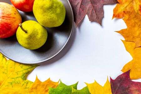 Autumn background with red apples and yellow pears on a brown plate surrounded by colorful maple leaves on a white background with the inscription autumn. Top view with space for text.