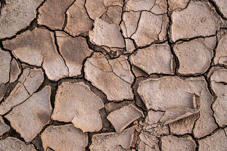 Natural mosaic formed by cracks in dry soil. Dead nature. Background and texture