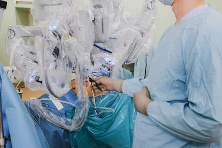 The process of carrying out a surgical operation using a modern robotic surgical system. Medical robot. Minimally invasive robotic surgery. Reklamní fotografie