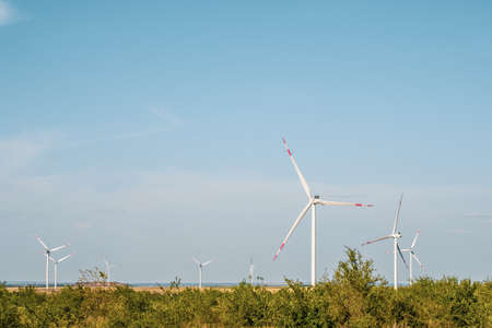 Wind turbines in an arid landscape. An alternative way of generating electricity