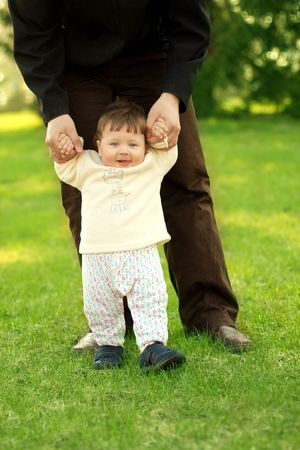 portrait of happy son walking with father Stock Photo - 3077084
