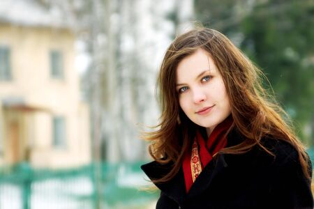 portrait of beautiful girl with house on background Stock Photo - 3077736