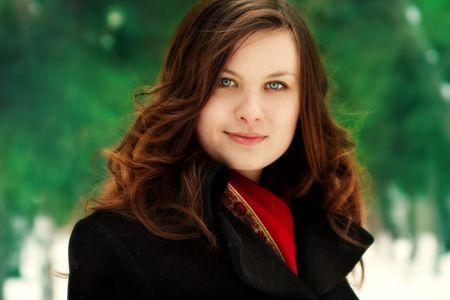 portrait of beautiful girl on nature background Stock Photo - 3077733