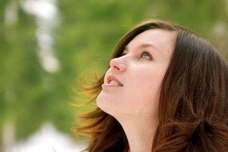 waiting glance: portrait of beautiful girl on nature background