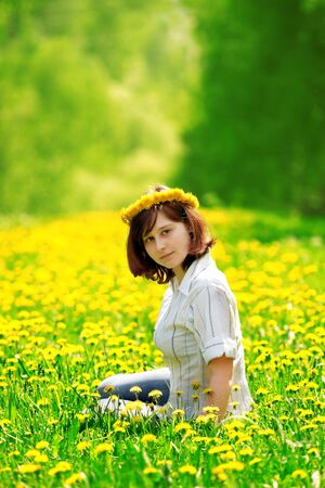 beautifu: portrait of beautiful girl in flower diadem Stock Photo