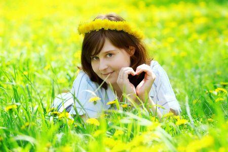 portrait of beautiful girl with flower diadem photo