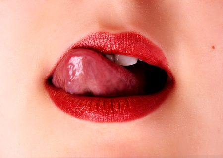 sexy lips: closeup of red sexy lips with tongue Stock Photo