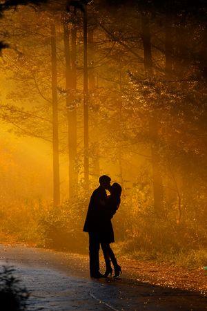 pareja besandose: tiro hermosa pareja bes�ndose en la luz del sol Foto de archivo