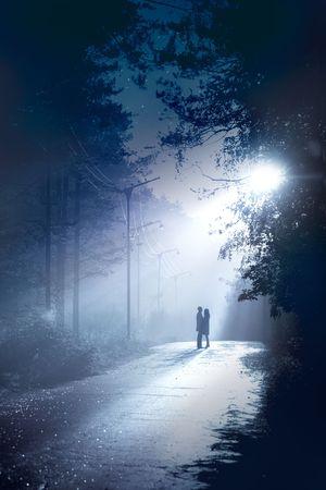 luz de luna: Pareja silueta de pie juntos en la luz de la luna