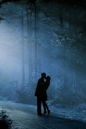 enamorados besandose: hermoso disparo de besar el par en la luz del sol