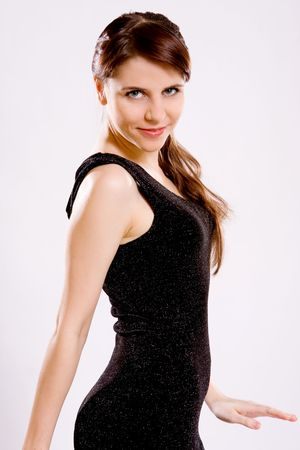 portrait of beautiful young womanl in black dress Stock Photo - 6190115