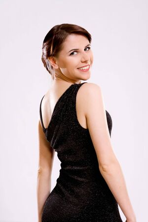 portrait of beautiful young womanl in black dress Stock Photo - 6190123