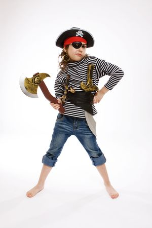 pirate girl: portrait of little girl in pirates costume