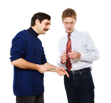 conclude: Businessman and workman conclude a contract