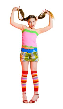 gaiters: cute teenage girl isolated on white background Stock Photo