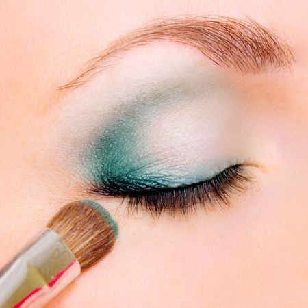 closeup of eye with beautiful make up photo