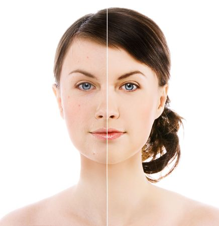 image of woman's face on white background