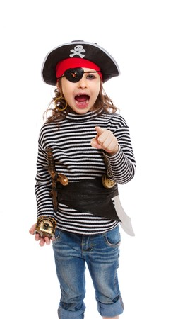 portrait of little girl in pirates costume photo