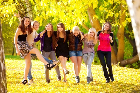 many young girls in the park. View from top. Stock Photo - 8087372