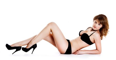 heelpiece: beautiful woman in black lingerie Stock Photo
