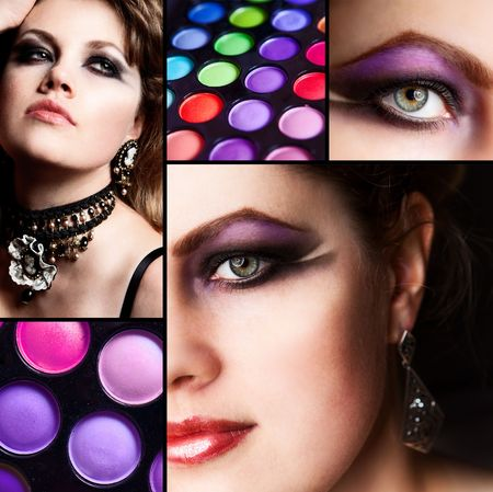 collage with photos of make-up stuff Stock Photo - 8182284